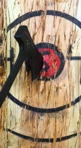 Blade and Timber Axe Throwing Bullseye with custom engraved axe black
